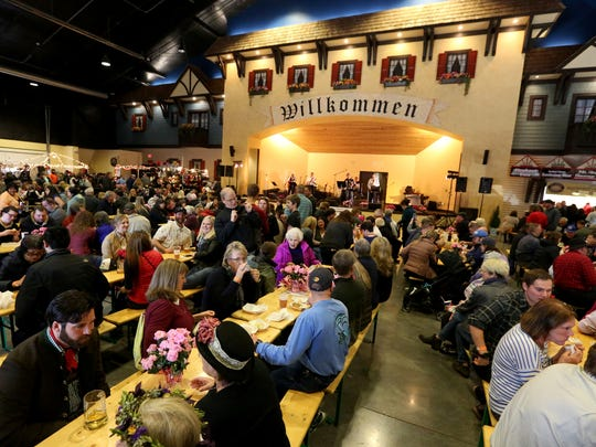 Hundreds attend the ninth annual Wurstfest, a celebration of Bavarian sausage, in Mt. Angel on Saturday, Feb. 25, 2017.