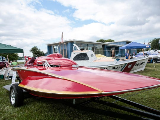 A 1964 5.7 Liter Schroeder hydroplane owned by Bob Krefski of Lake Orion is seen during the Vintage and Antique Racing Boat Show at the Dossin Great Lakes Museum on Belle Isle in Detroit on Saturday, July 15, 2017.