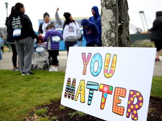 The Out of the Darkness walk for suicide prevention and awareness at Riverfront Park in Salem on Saturday, Oct. 14, 2017.