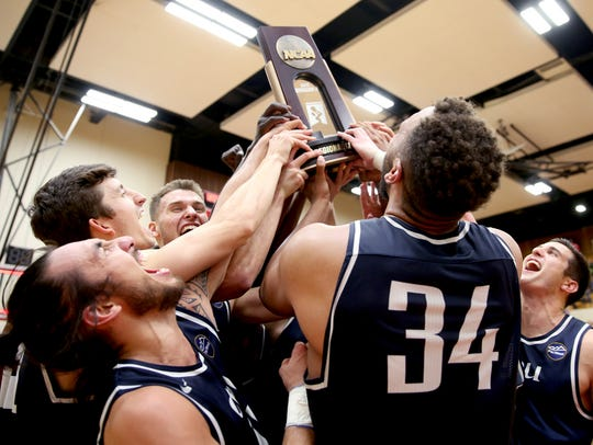 California Baptist celebrates their victory following