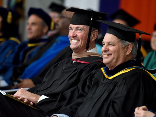 The 50th commencement ceremony of Bergen Community College at MetLife Stadium on Thursday, May 17, 2018. Gov. Phil Murphy and Bergen County Executive James Tedesco at BCC graduation. Gov. Murphy spoke at graduation.