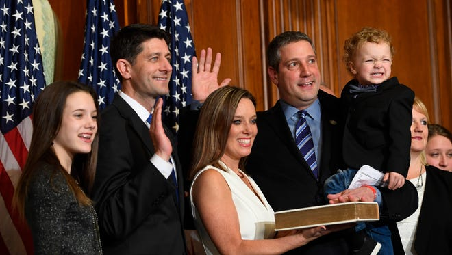 Rep. Tim Ryan, D-Ohio, with House Speaker Paul Ryan, R-Wisconsin, for a ceremonial swearing-in and photo-op during the opening session of the 115th Congress, on Jan. 3, 2017.
