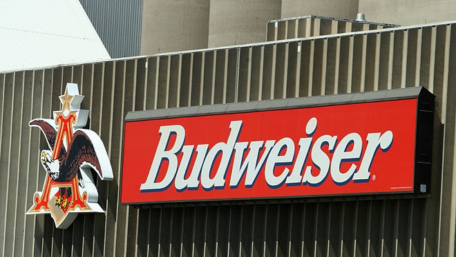 The logo of Anheuser's Budweiser at the Busch Agricultural Research facility in Fargo, ND.