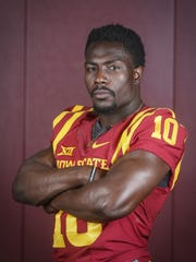 Iowa State defensive back Brian Peavy poses for a portrait