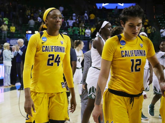 California forwards Courtney Range, left, and Penina Davidson, right, leave the floor following a second-round game against Baylor in the NCAA women's college basketball tournament in Waco, Texas, Monday, March 20, 2017. Baylor won 86-46. (AP Photo/Rod Aydelotte)