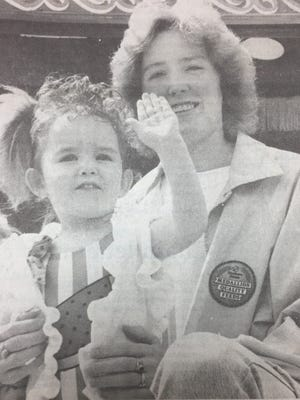 Brittany Phillips gave a wave to the judges in the Little Mr. and Miss contest at the Sturgis Trade Days in May 1989.