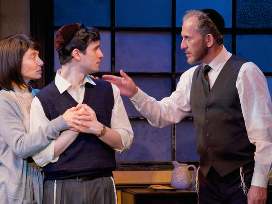 """From left: Naama Potok (The Women), Max Wolkowitz (Asher Lev) and Howard Pinhasik (The Men)  in """"My Name is Asher Lev,""""  at Penguin Rep Theatre."""