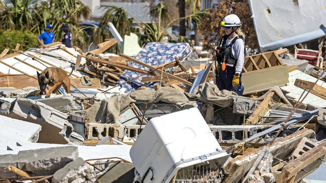 A cadaver dog and its handler look for bodies buried in the rubble left from Hurricane Michael in Mexico Beach Tuesday, October 16, 2018.