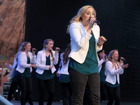 Noteworthy, an a cappella group from Brigham Young University, performs a few songs prior to Jay Leno's stand-up routine Friday at Tuacahn Amphitheatre in Ivins City.