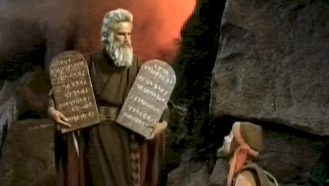 Charlton Heston in a scene from the motion picture 'The Ten Commandments.'