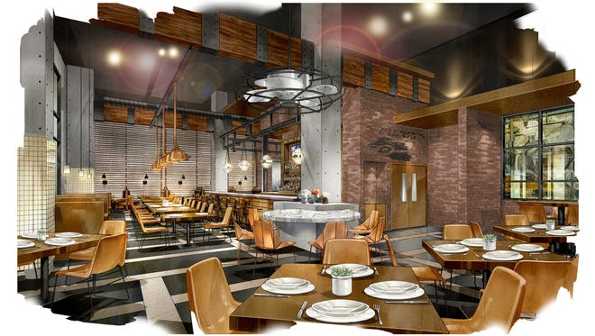 Provided rendering of a restaurant at the Omni Louisville Hotel.