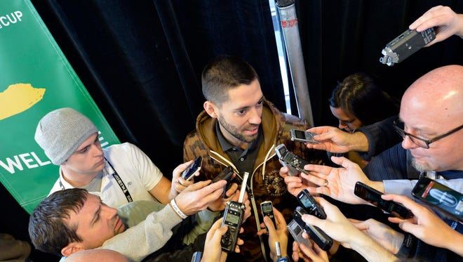 Seattle Sounders player Clint Dempsey is interviewed during the World Cup draw event in advance of the MLS Cup at Sporting Park on Friday.