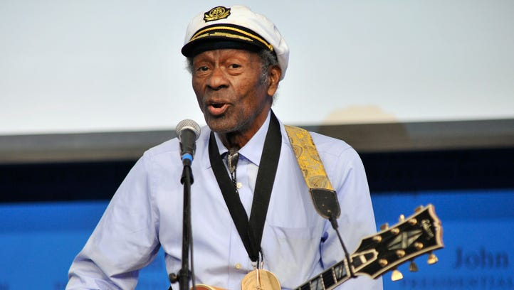 """Rock 'n' roll legend Chuck Berry performs """"Johnny B. Goode"""" at the John F. Kennedy Presidential Library and Museum in Boston. Berry died on March 18 at age 90."""
