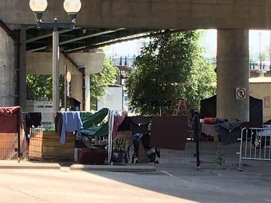 Actors on a homeless encampment set for the Netflix