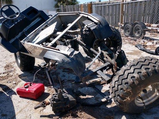 A man driving a homemade four-wheeler died on Monday,