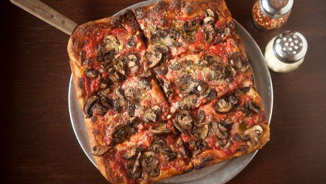 The Funghi pizza (mushrooms, mozzarella, tomato) is a favorite at Square Pie located at 801 East Passyunk Ave. in Philadelphia.