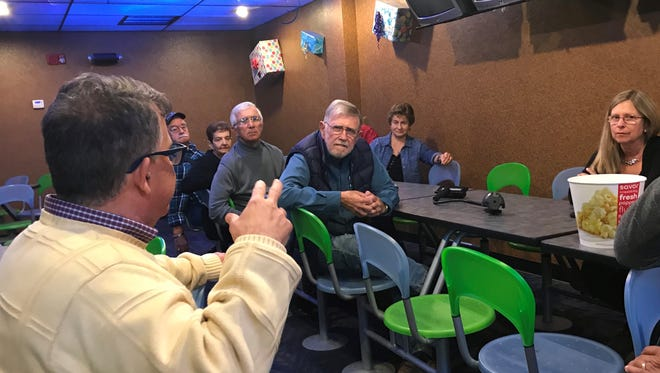 "FLORIDA TODAY executive editor Bob Gabordi talks with a group of readers about the movie ""The Post"" at AMC Avenue 16 on Thursday."