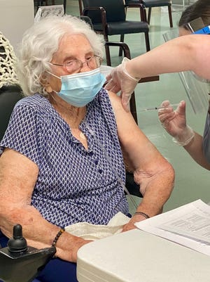 Dorthea Long, 105, was the first resident to receive the Covid vaccine at the Hillsdale County Medical Care Facility.
