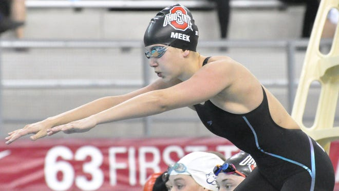 Port Clinton graduate Cheyenne Meek is ready for her part in the 200 freestyle relay for Ohio State at the Ohio State Invitational.