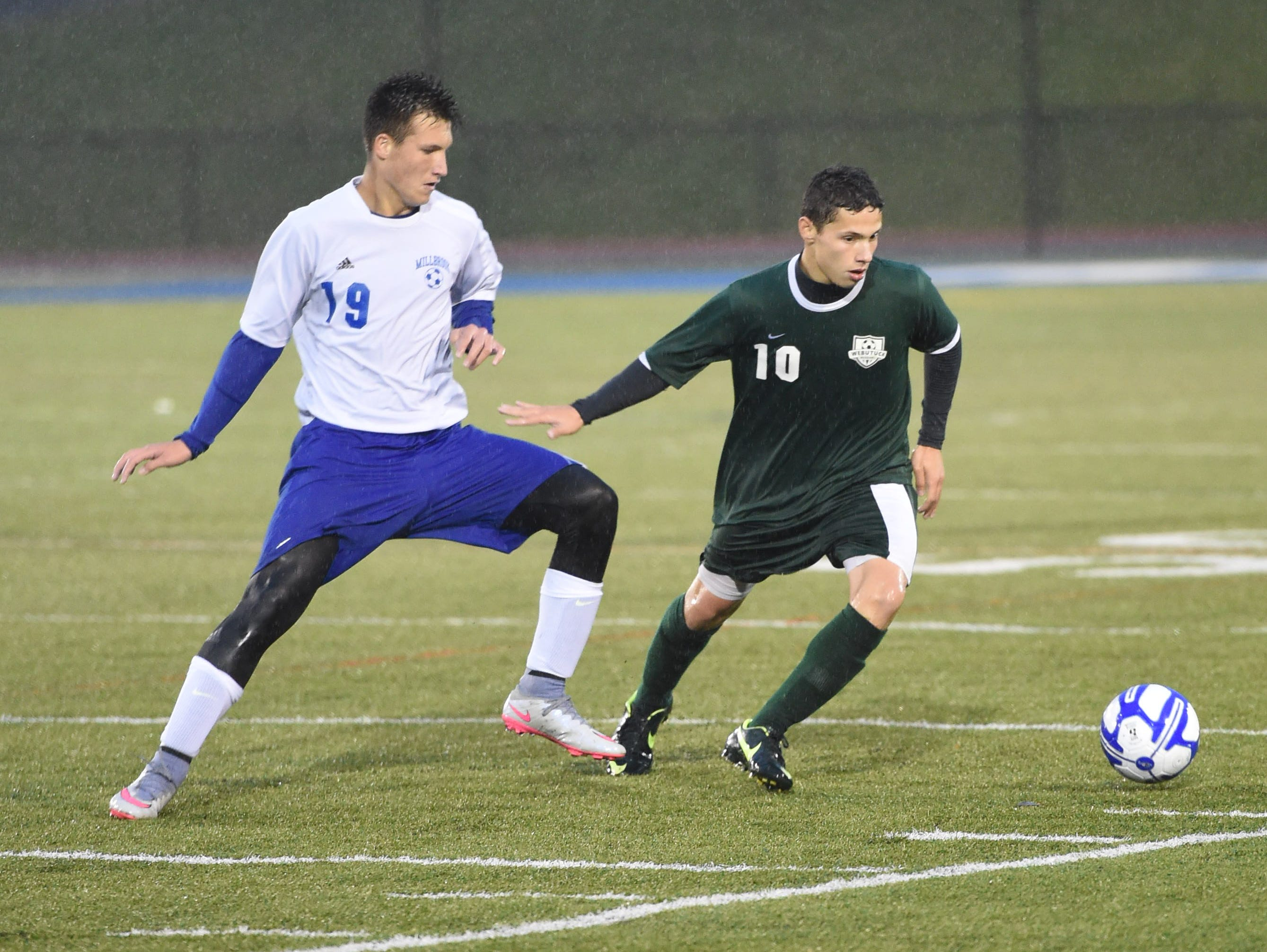 Webutuck's Chris Reed fends off Millbrook's Alex Censi during the Section 9 Class C boys soccer championship on Wednesday.