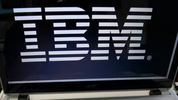 An IBM logo is displayed in Berlin, Vt.