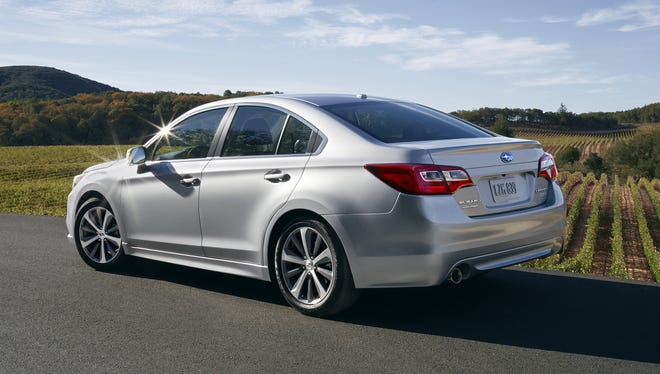 The redesigned 2015 Subaru Legacy midsize sedan unveiled at the Chicago Auto Show.
