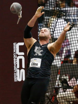 Kentucky senior David Cline, a Rosecrans alum, competes in the weight throw in last month's SEC Indoor Track and Field Championships. Cline was recently inducted into the school's Frank Ham Society of Character.