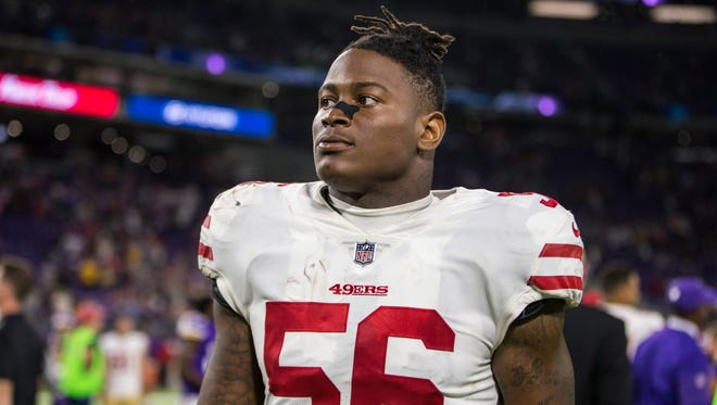 Linebacker Reuben Foster played in 10 games this season as a rookie for the San Francisco 49ers