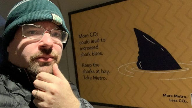 Shark researcher David Shiffman is a post-doctorate student at Arizona State University's Washington, D.C. campus. He's challenging a subway ad that ties climate change to the possible increase in shark bites.