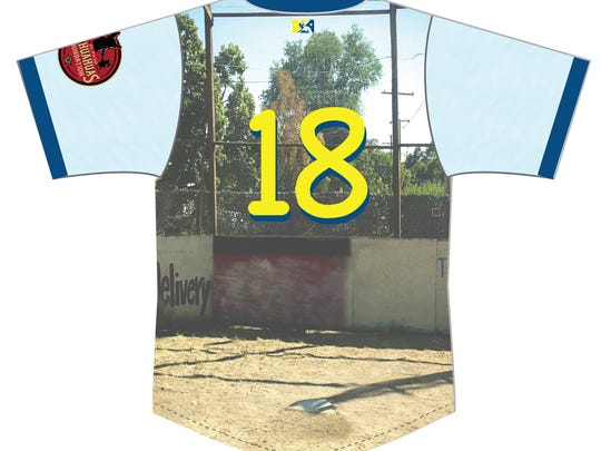 The back side of the El Paso Chihuahuas special 'The Sandlot' themed jersey.