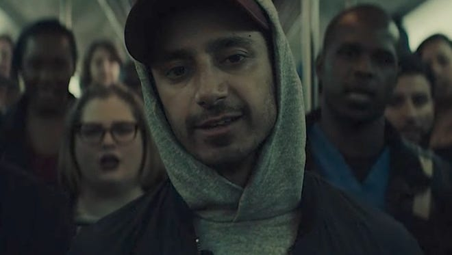 Riz Ahmed in his music video for 'The Hamilton Mixtape: Immigrants (We Get The Job Done)'.