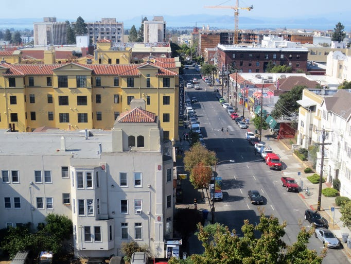 The view of downtown Berkeley from the roof of the