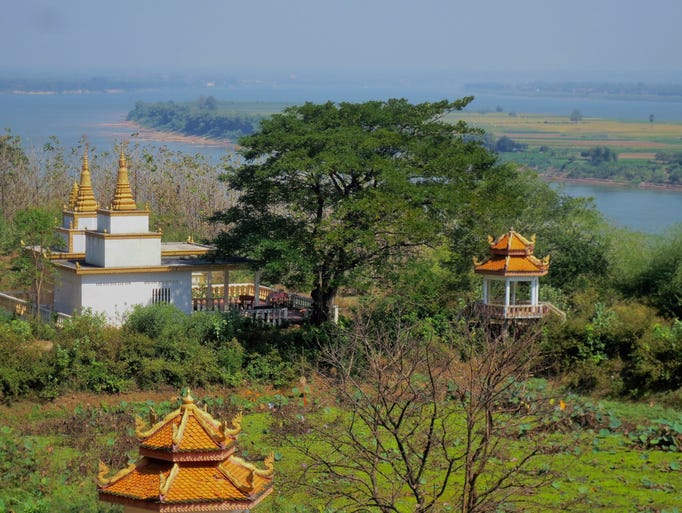 View of the Mekong River from the Wat Hanchey Monastery