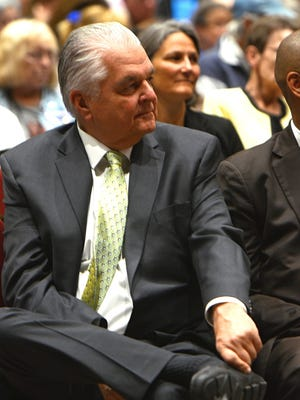 Democratic gubernatorial nominee Steve Sisolak is seen listening to U.S. Sen. Catherine Cortez Masto, D-Nev., give a speech at the Nevada State Democratic Party Convention held at the Grand Sierra Resort on June 23, 2018.