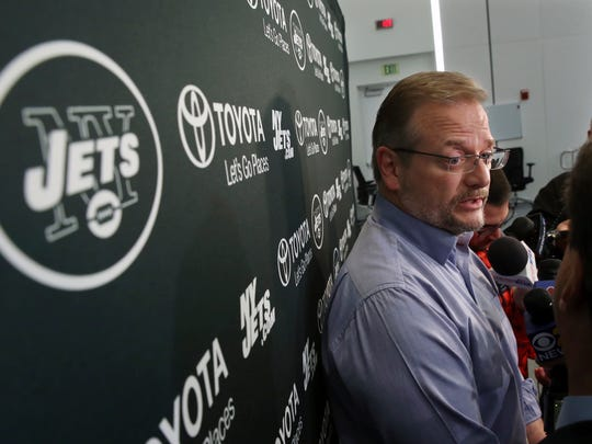 New York Jets general manager Mike Maccagnan answers a question as he addresses the media at the team's NFL football training facility Thursday, Jan. 5, 2017, in Florham Park, N.J. AP Photo/Mel Evans)