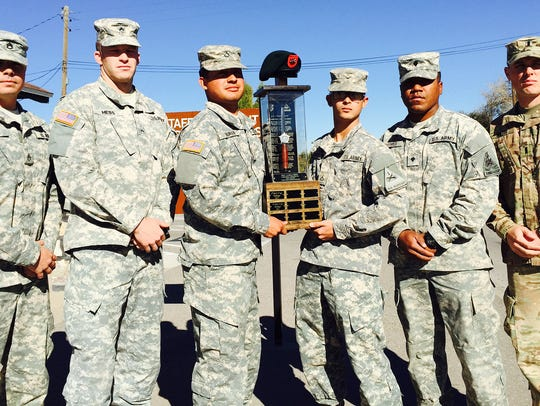 Members of the winning team in the Staff Sgt. Joshua