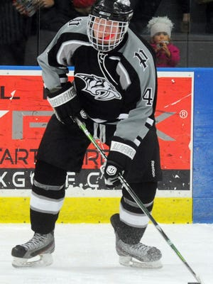 One of the mainstays on Plymouth's blue line is senior Jake Zaborowski, shown from a game last season.