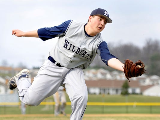 Dallastown pitcher Tyler Butcher struck out nine in a complete-game win vs. Spring Grove on Wednesday. Butcher also went 4-for-4 at the plate in the Wildcats' 5-1 victory. (Daily Record/Sunday News -- Chris Dunn)