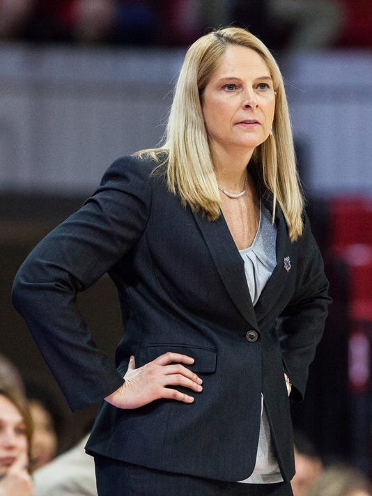 Maryland coach Brenda Frese looks towards the court during a first-round game in the NCAA women's college basketball tournament against Princeton in Raleigh, N.C., Friday, March 16, 2018. (AP Photo/Ben McKeown)
