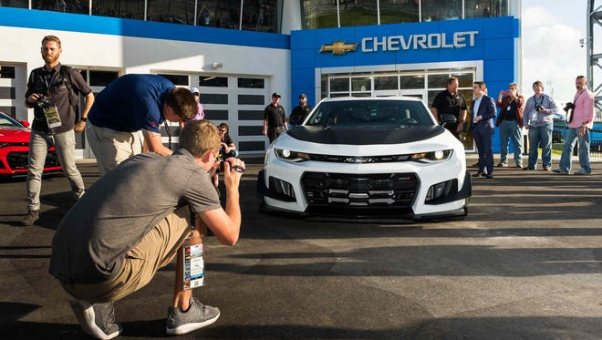 Media get a closer look at the 2018 Camaro ZL1 1LE -- the most track-capable Camaro ever -- makes its world debut at the Chevrolet Experience Center Friday, February 24, 2017 at Daytona International Speedway in Daytona Beach, Florida. The new Camaro features special aero, adjustable suspension and exclusive tires that drive unprecedented performance for a production sports car.