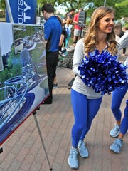 Colts Cheerleaders Lexie and Carissa talk with others