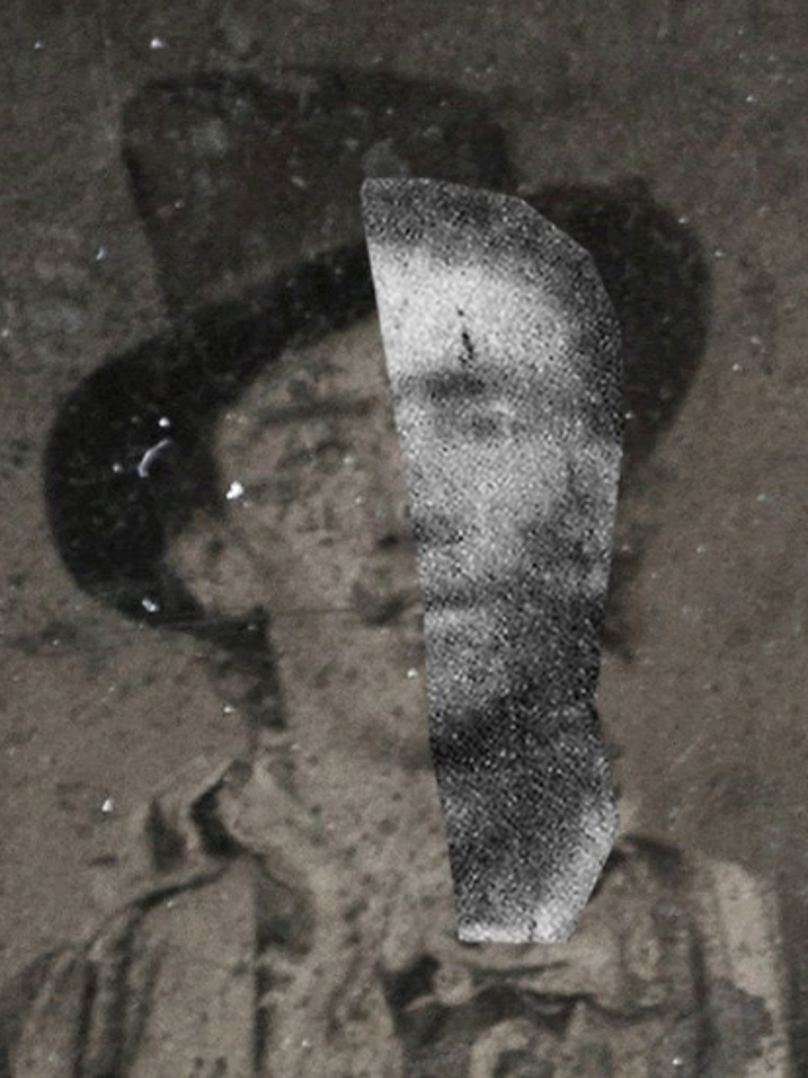 This photo shows the first known photo of Billy the Kid, which was purchased at auction by William Koch, with the face from Abrams' tintype suspected to be Billy overlaid to show facial symmetry.