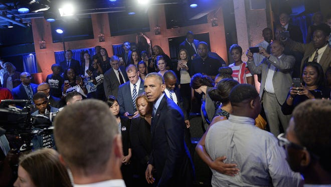 President Barack Obama speaks at a town hall hosted by ABC to engage directly with officers, parents, students, community leaders and families on trust and safety in the communities at the Studio Theater on July 14, 2016 in Washington, D.C. (Olivier Douliery/Abaca Press/TNS)