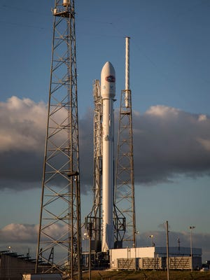 A SpaceX Falcon 9 rocket on its Launch Complex 40 pad in preparation for launch of the Deep Space Climate Observatory mission.