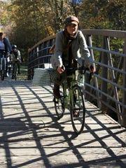 Riders make their way through Greenough Park during