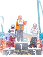 In the Ski Apache Terrain Park youth competition held Saturday, Gabe (first), Lorenz (second), and Jonas (third) made the podium.