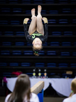 Mary Kelly of Sylva is a competitive gymnast.