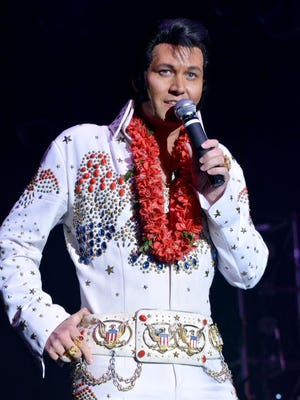 """The """"Elvis Rocks Mesquite"""" 2016 Grand Champion, Travis Allen, performs on stage during the annual event in the CasaBlanca Showroom at CasaBlanca Resort-Casino-Golf-Spa Saturday, June 18."""