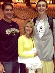 Frank, left, Tracy and Luke Kornet pose at Memorial Gym. Frank was an All-SEC player. Tracy is a TV news anchor at WSMV Channel. Luke was voted preseason All-SEC on Oct. 19, 2016.