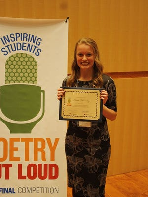 Tessa Thornley of Bear River was the 2016 Utah winner of Poetry Out Loud contest.